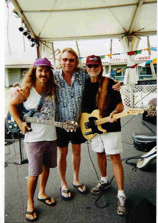 Donnie Smith, Merrell, and Willie Nelson, Tibetan Dharma Concert, Maui, July 2000